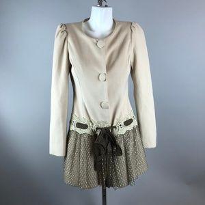 A'reve Arabella Cream Puff Sleeve Coat Size S Lace